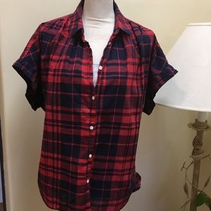 Madewell Plaid courier shirt, Red/Navy, Large